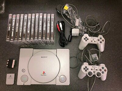 Retro Playstation 1 Bundle Console  2 Controllers Memory Card 17 Games