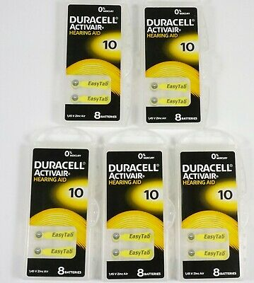 40 Duracell Activair Mercury Free Hearing Aid Batteries Size 10 Exp- 10-2022