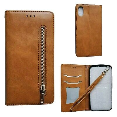 Apple iPhone X / XS Tan Leather Wallet Case With Card Slots And Strap