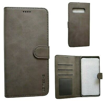 Samsung Galaxy S10+ Gray Leather Wallet Case With Card Slot And Photo Slot