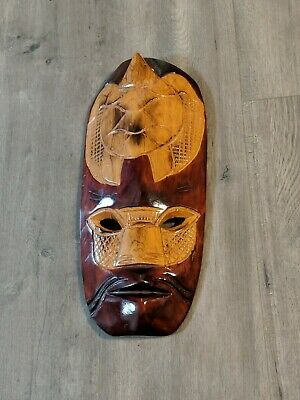 Hand Carved Wooden Tribal Wall Art, Carved Wooden Mask
