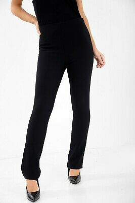 New Ladies Womens Stretch Pull On Finely Ribbed Bootleg Trousers Pants Plus Size