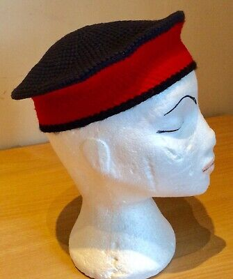 1950s Child's Red And Black Knitted Sailor Hat
