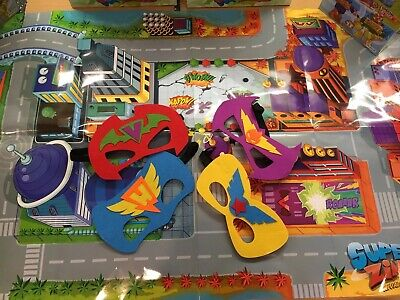 Superzings Series 3 Map And Cityscape Floorplay + 4 Zing Masks.
