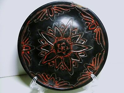 "Black Laquered Carved Cinnabar 6"" Plate on Copper-Chinese Antique"