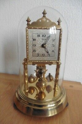 CIRCA 1950s HERMLE 400 DAY ANNIVERSAY CLOCK  WITH  GLASS DOME- WORKING CONDITION