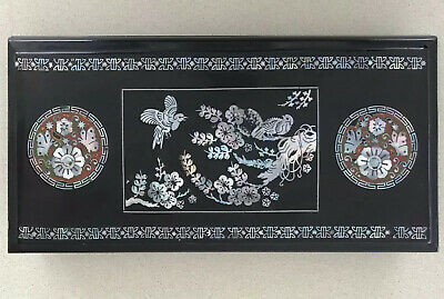 VINTAGE CHINESE SMOKING BOX Mother Of Pearl Inlay Lacquer Finish c.1920's
