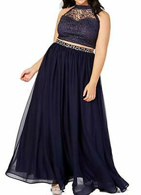 MSRP $139 Sequin Hearts Womens Gown Navy Glitter Crochet 2-Pc. Blue Size 18