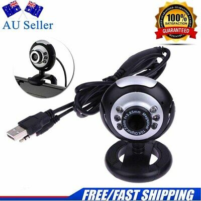 Usb 2.0  Webcam Camera Xp, Vista, Windows 7 10 Skype, Yahoo, Mic 6 Led Brand New