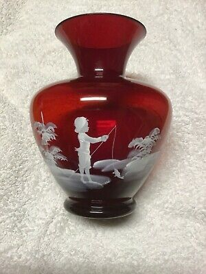 Mary Gregory Antique  Ruby Glass Vase