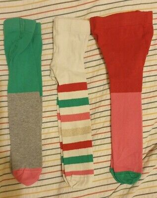 Set Of 3 Girls M&S Tights Age 0-6 Months