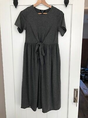 New Look Grey Size 8 Tie Front Jersey Material Dress