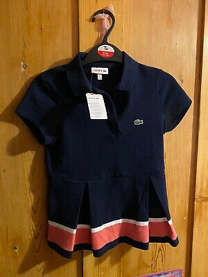 Lacoste Girls Cotton Polo A Line Dress Navy Blue with Pink & White Band BNWT