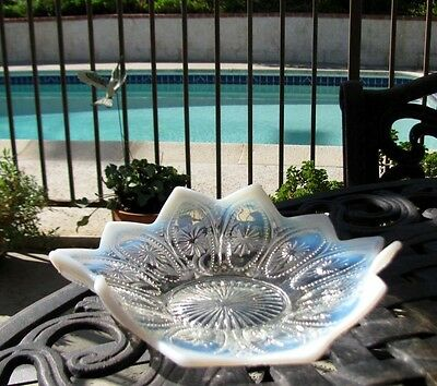 Northwood SPOKES And WHEELS Opalescent Glass Bowl circa 1908*Blue Tinges*Points