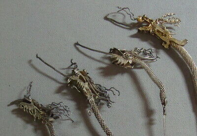 Lot of Four Antique Chinese Export Mesh Silver Dragon Hairpins Hair Pins