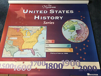New Sealed Nystrom United States History Series Pull Down Map 12 Maps In One