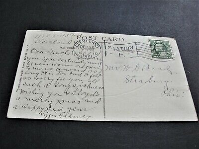 1910 Hearty Greetings for Joyous Yuletide- Ben Franklin One Cent-Postcard. RARE.