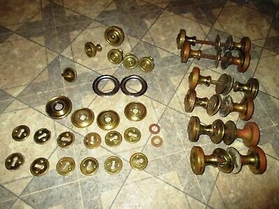 Lot of 6 Vintage Heavy Solid Brass  Interior Doorknobs Back Plates & Acessories