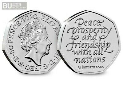 NEW 2020 UK BREXIT Withdrawal from EU CERTIFIED BU 50p (Brilliant Uncirculated)