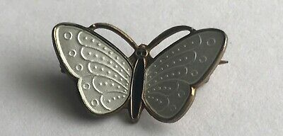 Norway Ivar Holth Sterling Silver White Guilloche Enamel Gold Backing Brooch
