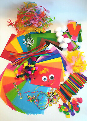 CREAVVEE Kids Craft Materials Box Glitter Card Pompom Sequin Activities Set