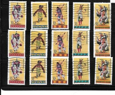 U S Stamps Used 3072 - 3076 Native American Indian Dances   One Of These Vf Sets