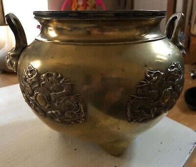 Heavy Antique Chinese Bronze Tripod Censer Dragons Chasing Pearl Lion Masks