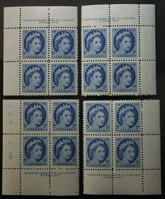 Canada #341, MNH OG M/S Of 4 Plate Blocks, Plate #5, Wilding Series
