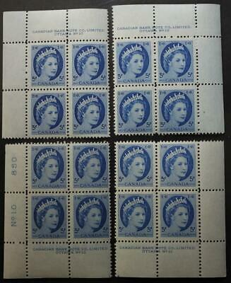 Canada #341, MNH OG M/S Of 4 Plate Blocks, Plate #10, Wilding Series