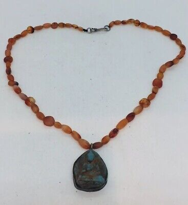 Antique Victorian Egyptian Revival Blue Faience Seated Figure Carnelian Necklace