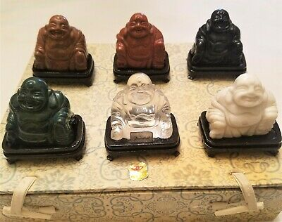 Lot Of (6) Assorted Gemstone Roc Chinese Carved Buddha Figures Baccarat Crystal