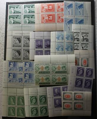 Canada MNH OG Collection Of 18 Plate Blocks Of 4, 1950's Issues