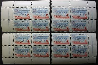 Canada #469, MNH OG, M/S Of 4 Plate Blocks, Plate #1, Expo '67