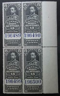 Canada #FWM62, MNH OG Block Of 4, Weights & Measures Inspection Stamps