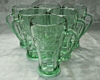 Libbey Set of 6 Green Coke Coca-Cola Heavy Embossed 14oz Glasses With Handled EC