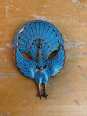 Vintage Sterling Silver And Enamel Dimensional Hinged Peacock Pin / Brooch