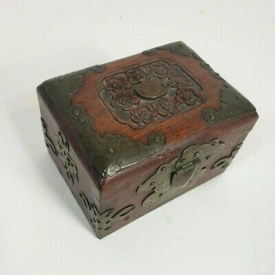 Small ANTIQUE OR VINTAGE CHINESE ROSEWOOD BRASS BRONZE TRIM Curio Box