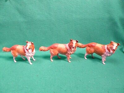 3 Plastic Model Lassie Collie Dogs Hand Painted