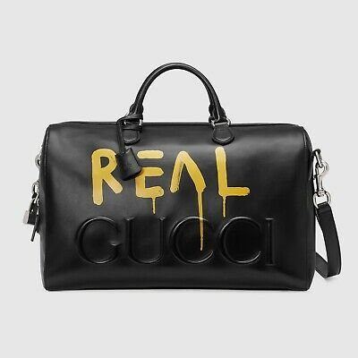 GUCCI Ghost Yellow REAL Print GG Black Leather Duffel Duffle Bag Carry On Travel