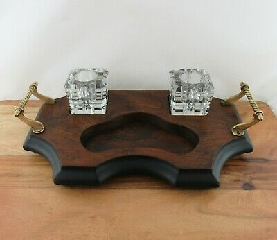 Vintage Antique Wooden Desktop Writing Tray with 2 Glass Inkwells