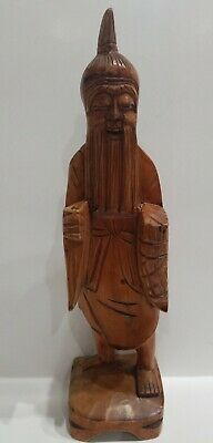 """Vintage Hand Carved Wooden Asian Wise Man Smiling Laughing Statue Aprox.12"""""""