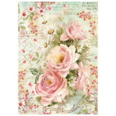 DFSA4223 Roses and Daisies Stamperia Rice Paper A4 Decoupage Mixed media