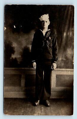 Dreamlike Wwi Era? Studio Portrait Of Us Navy Sailor - Antique Photo Rppc