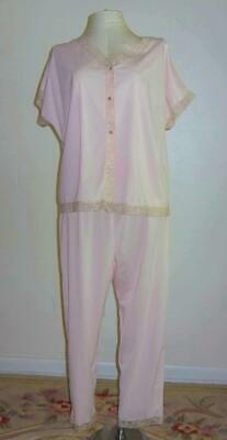 Vtg Formfit Rogers Pink silky Nylon lace Pajama set PJ Lounge wear Set L - XL