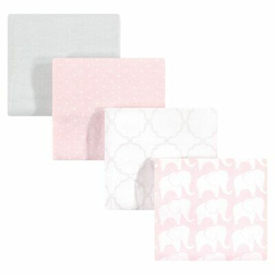 Hudson Baby Cotton Flannel Receiving Blankets, Girl Elephant, One Size