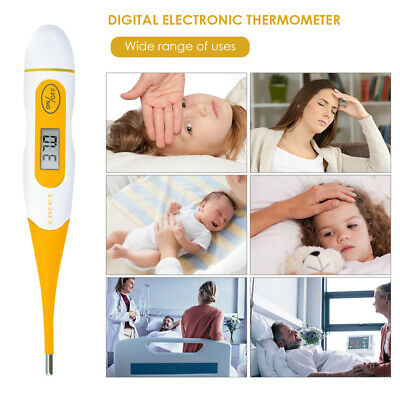 Digital LCD Thermometer Medical Teal Blue Body Safe Soft Electronic Thermometer