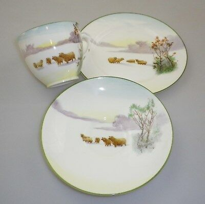 "Royal Doulton Trio in the very scarce "" WINTER SNOW SCENES WITH SHEEP ""  pattern"