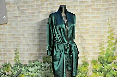 Vintage Gold Label Victorias Secret Satin Robe Emerald Green Size S