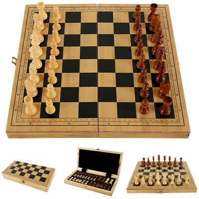 Folding Large 32 Piece Wooden Chess Set High Quality Chessboard Hand Crafted UK