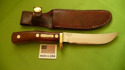 "Schrade Walden USA ""165 OT"" Old Timer ""Woodsman"" Fixed Blade Knife with Sheath."